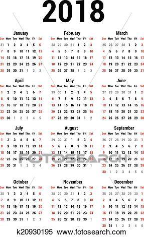 Calendar 2018 Clipart.