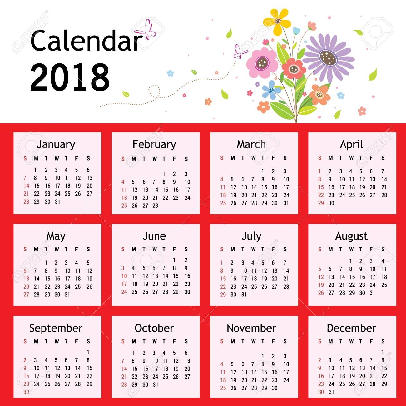 Happy New Year Flower Planner Calendar 2018 Vector.