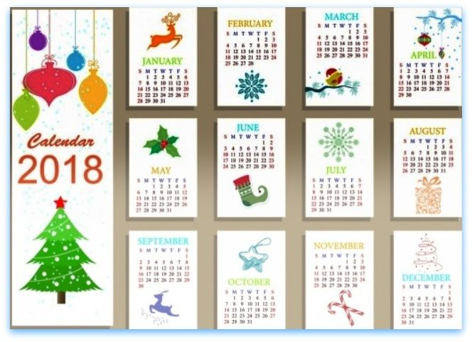 Free 2018 clipart calendar.