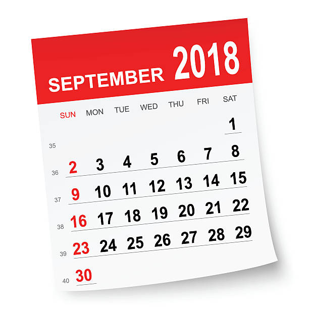 September 2018 Calendar Clipart.