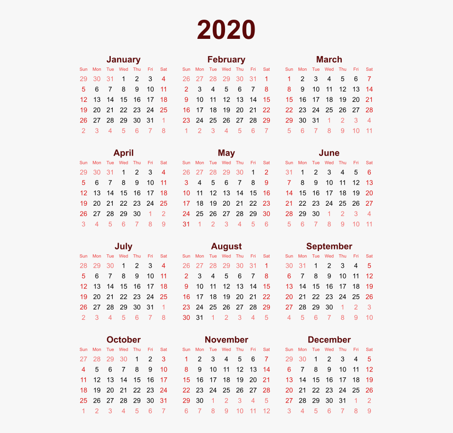 2020 Calendar Png High Quality Image.