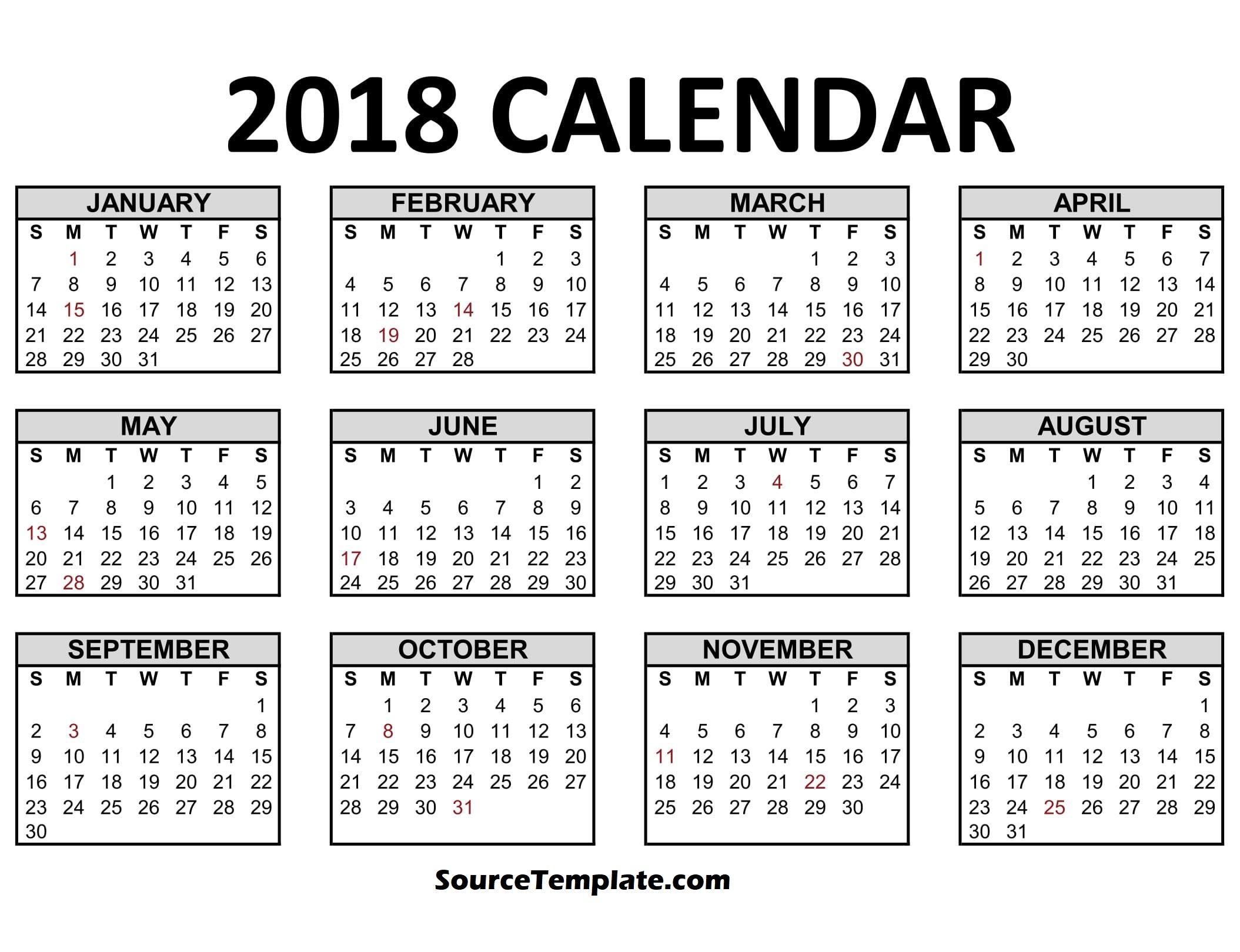 January 2018 Calendar Clipart.