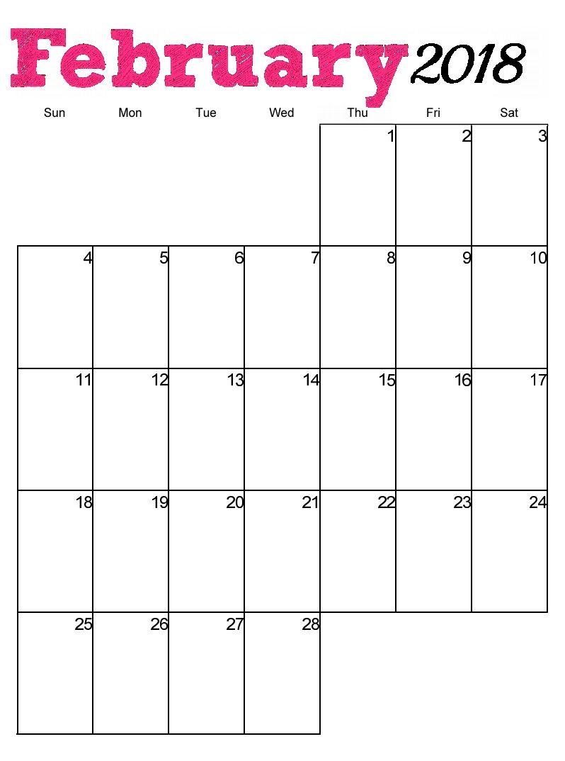 Free Printable February 2018 Vertical Calendar.
