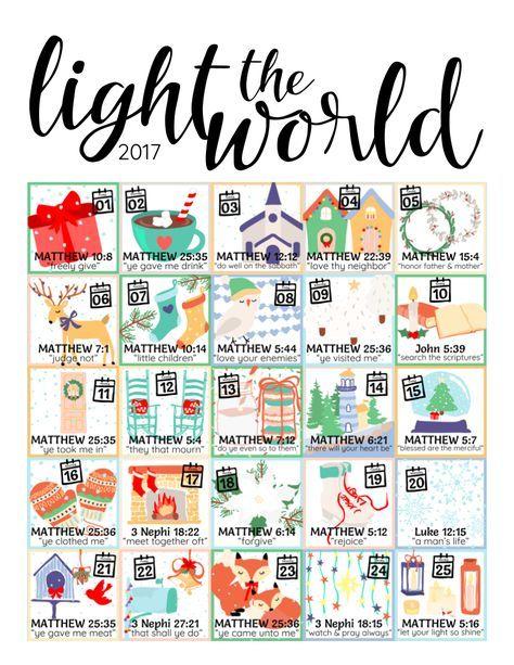 2017 Light the World LDS Christmas Advent Calendar printable.