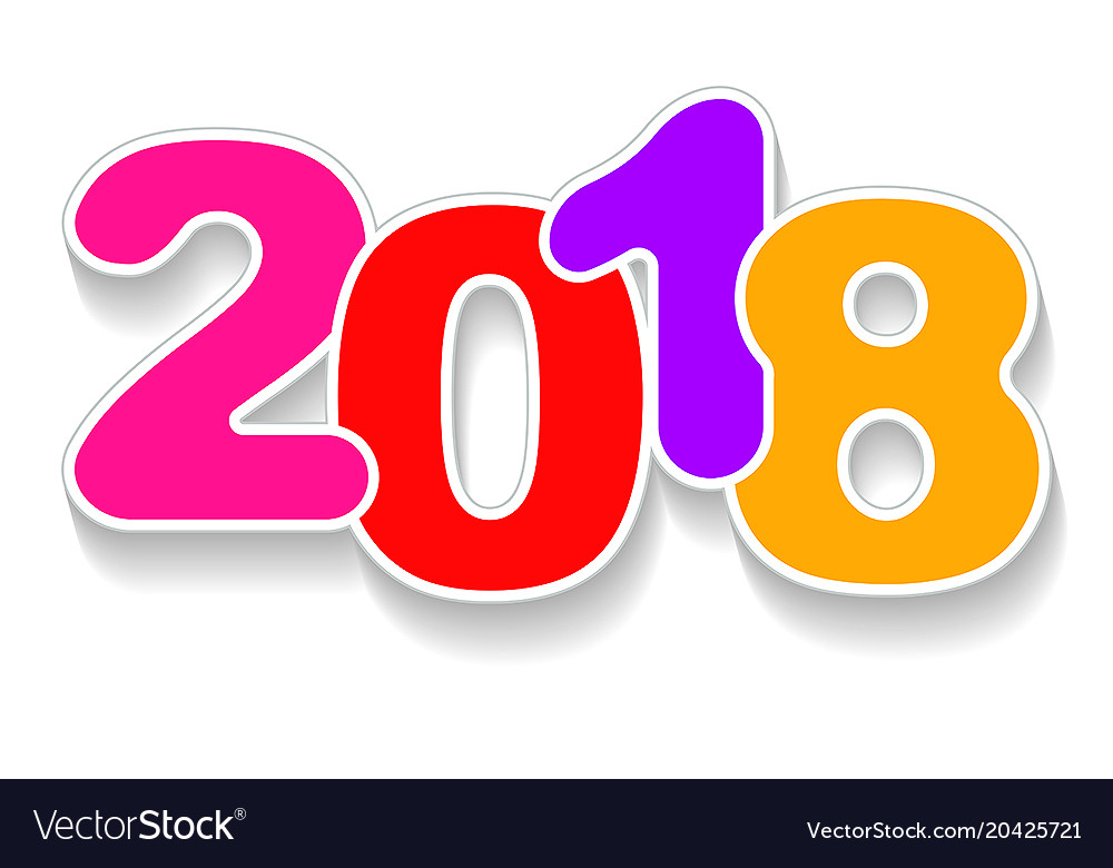 Happy new year 2018 color background with shadow.
