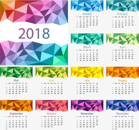 Symphony Low Polygon Calendar Template, Vector, Material.