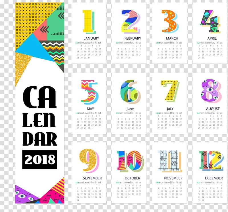 Calendar Personal organizer Template, Color abstract.