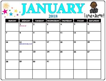 January 2018 Calendar.