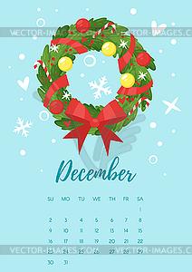 December 2018 year calendar page.
