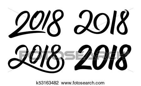 Set of New Year 2018 calligraphy numbers Clipart.