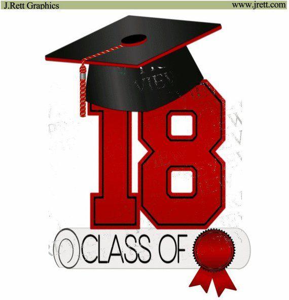 Class of 2018 clip art, MORE COLORS, red, black, graduation.