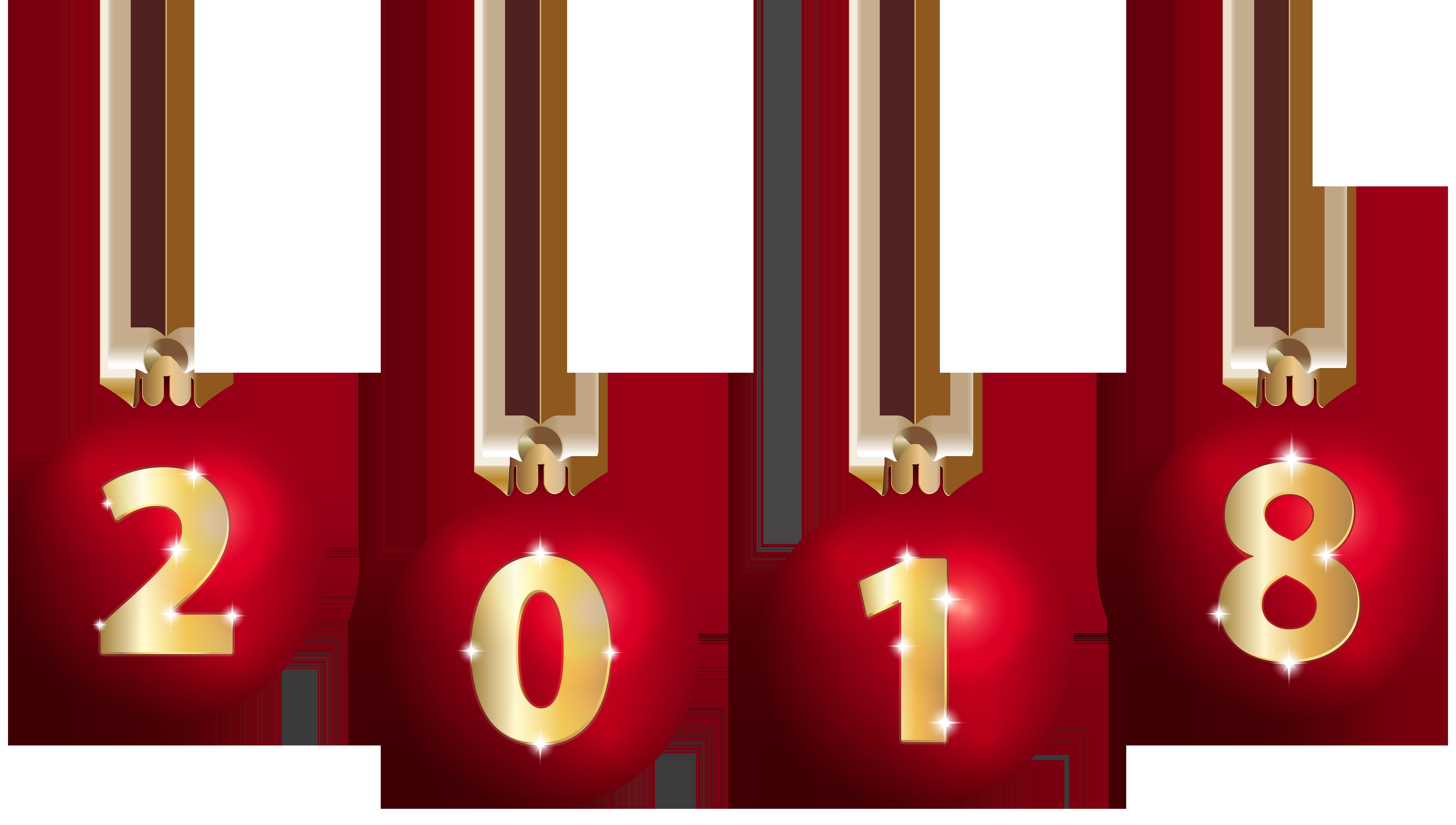 2018 and Christmas Balls PNG Clip Art.