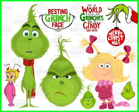 Grinch SVG Files Resting Grinch Face Young Grinch Cindy Lou.