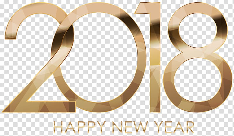 Happy new year 2018 text, 2018 Happy New Year Gold.