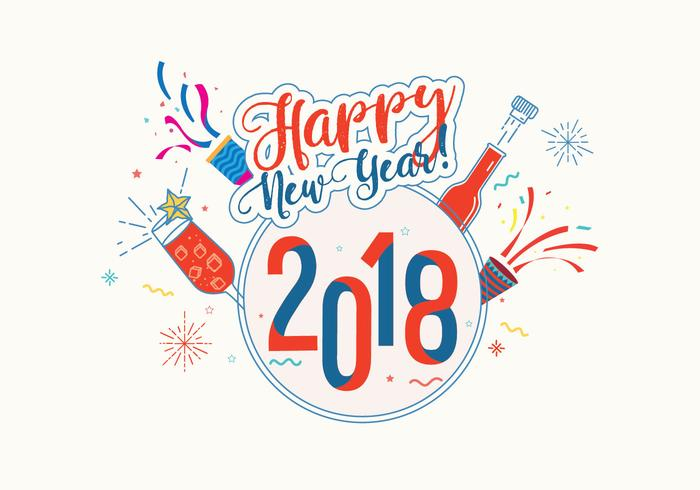Happy New Year 2018 Background Vector.