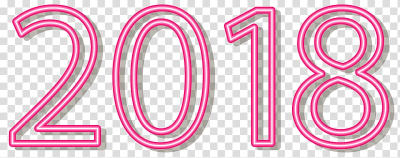 2018 , Sticker , 2018 Neon Style Pink transparent background.