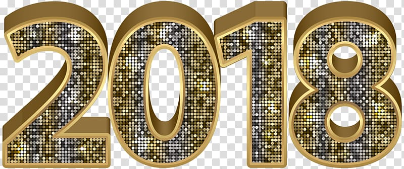 Gold 2018 , , 2018 Gold Deco transparent background PNG.