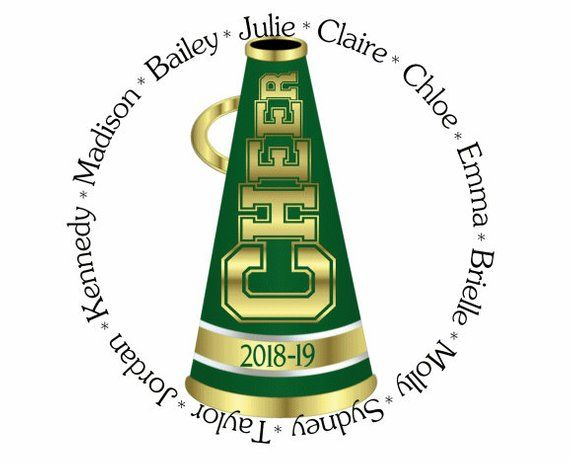 Cheer Megaphone clip art, Green Gold Personalized with.