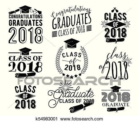 Graduation wishes overlays labels set. Monochrome graduate class of 2018  badges Clipart.