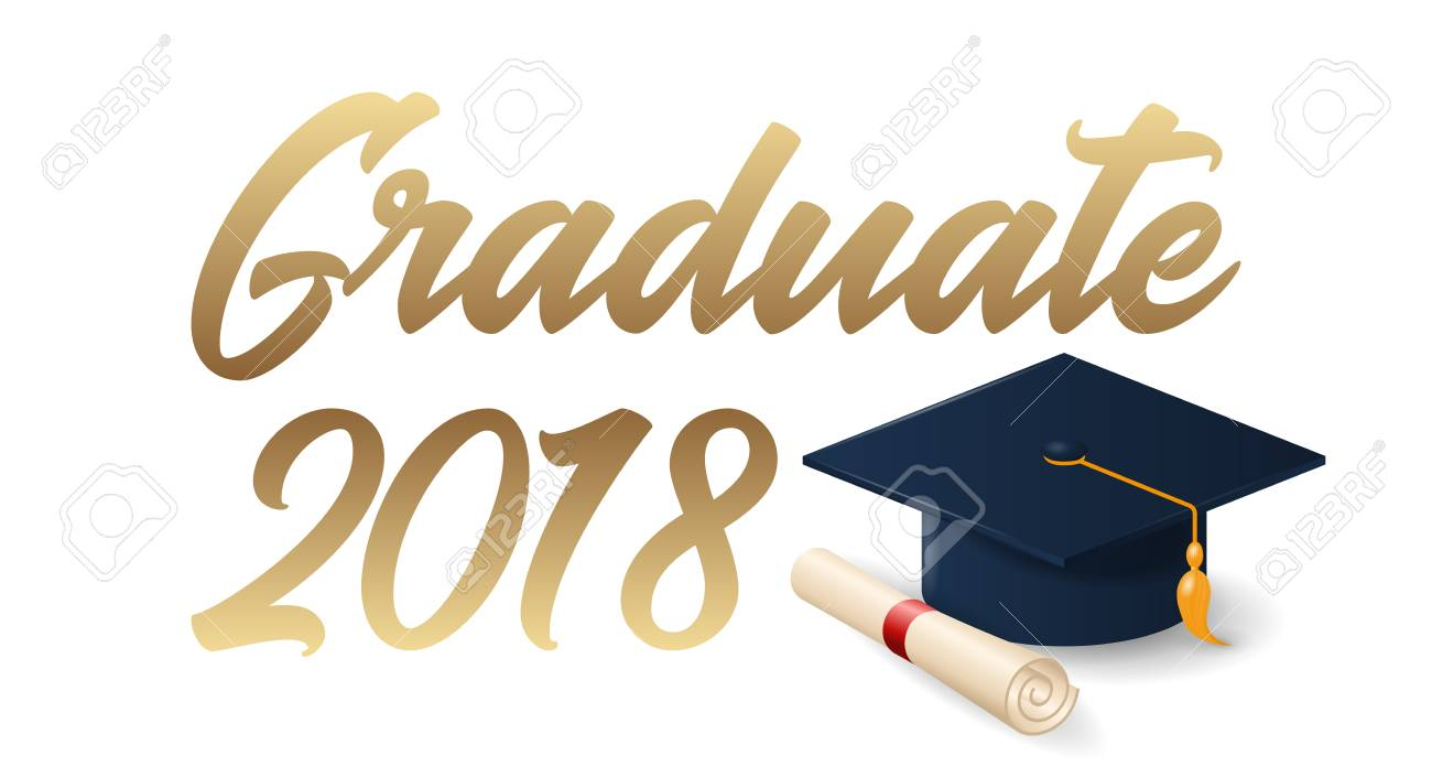 2018 graduation poster with cap and diploma scroll on white background.