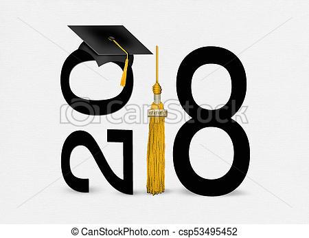 black 2018 graduation cap with gold tassel.