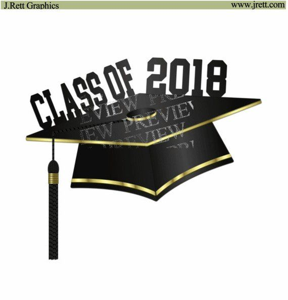 Graduation 2018 clipart, MORE COLORS, Black and Gold graduation cap.
