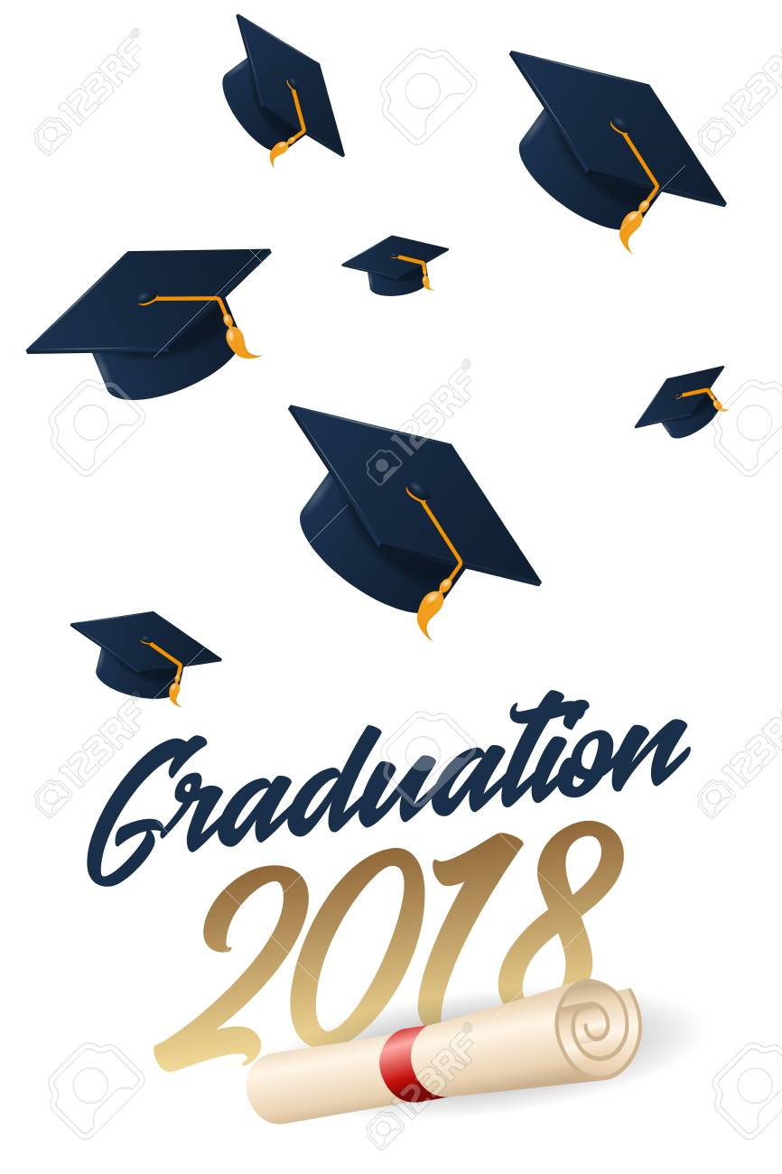 Graduation 2018 poster with hat or mortar board. Can be used...
