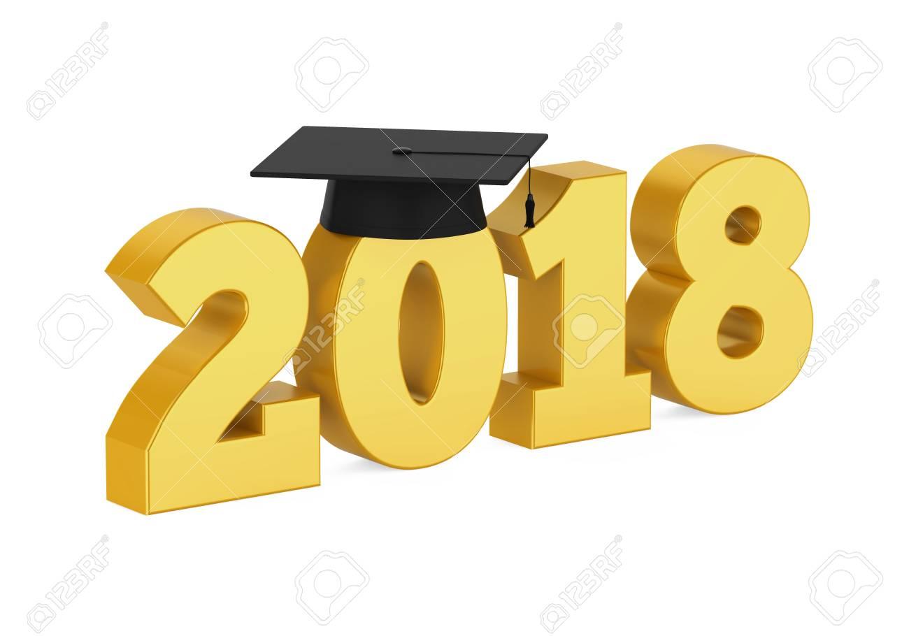 2018 Graduation Cap Isolated.