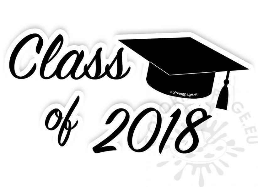 Black Class of 2018 Graduation Clip Art.