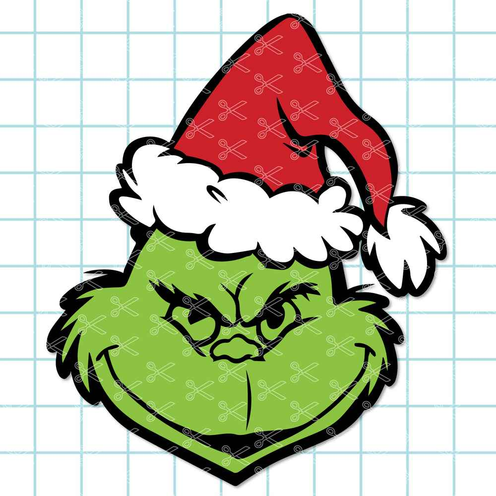 Grinch Face Christmas SVG DXF PNG Cut Files.