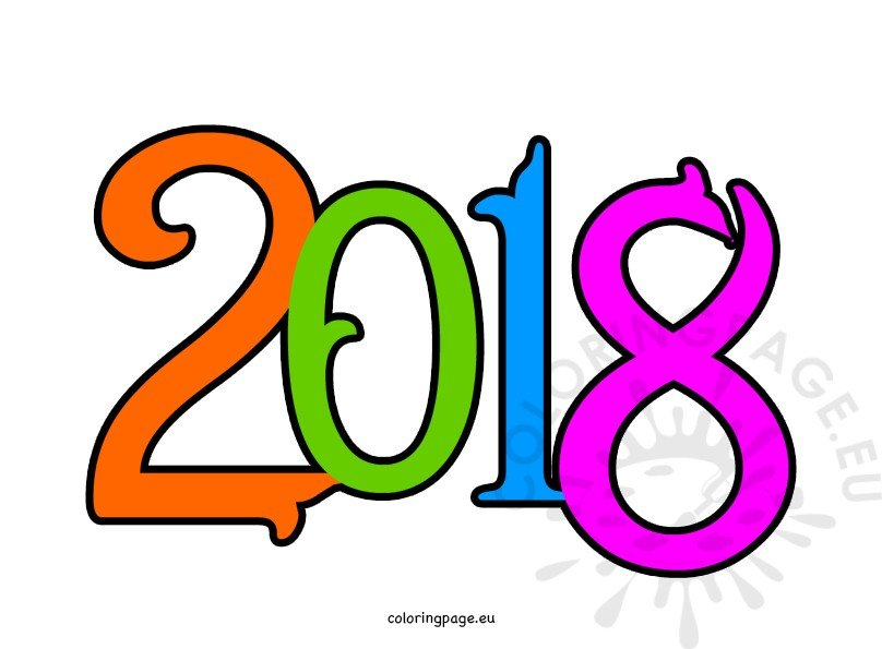 Happy new year 2018 clipart.