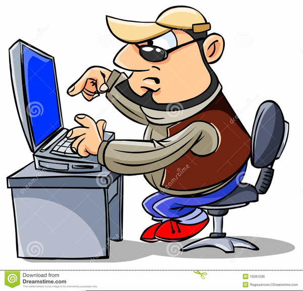 Clipart Of A Man Working At A Computer.