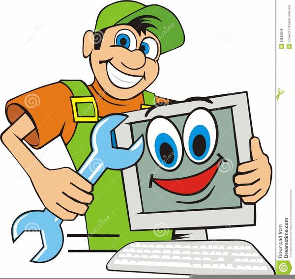Computer Repair Man Clipart.