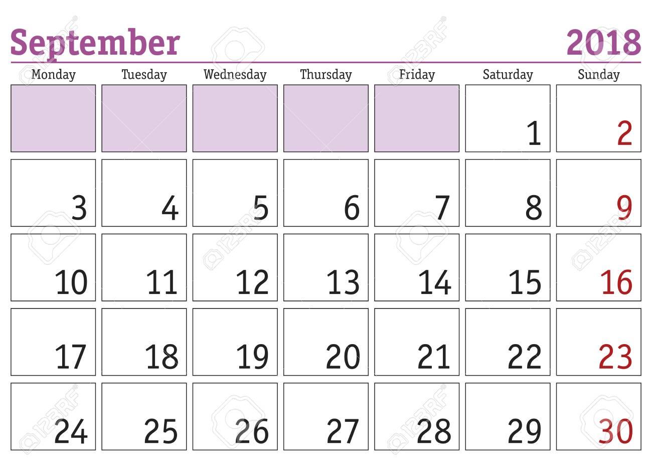 September 2018 Calendar Clipart.