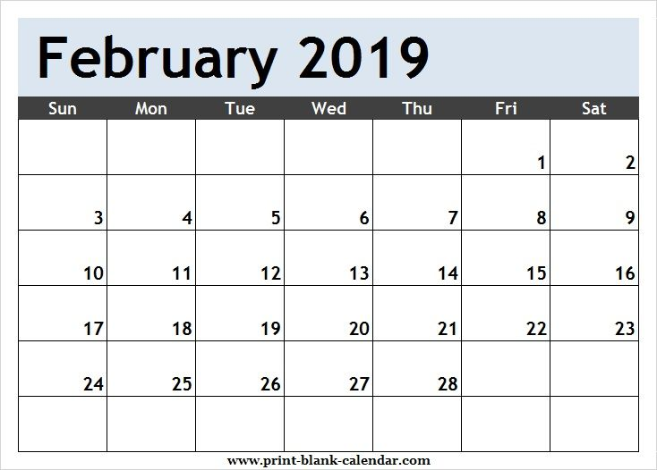 Free February 2019 Calendar Clipart Page.