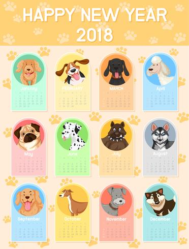 Calendar template with many dogs for each month.