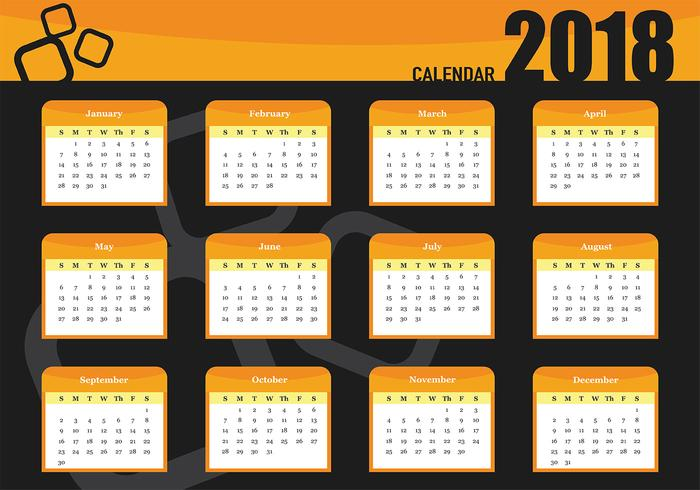 Vector Template Of Printable Monthly Calendar 2018.