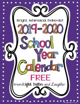 Editable FREE Bright Polka Dot Monthly Calendars 2019.