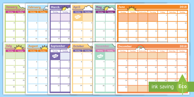 2018 Monthly Calendar Planning Template.
