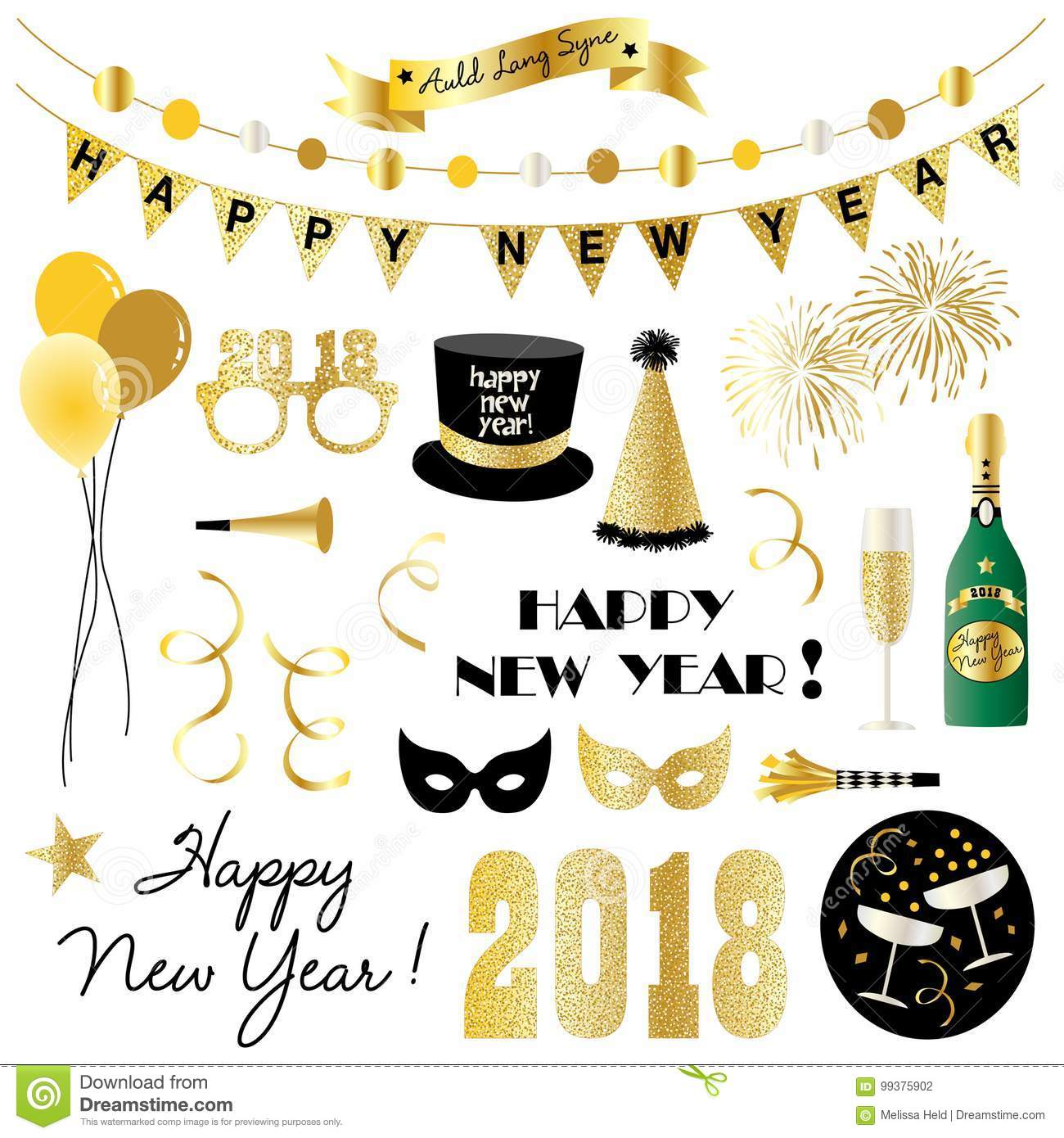 New years eve clipart stock vector. Illustration of 2018.