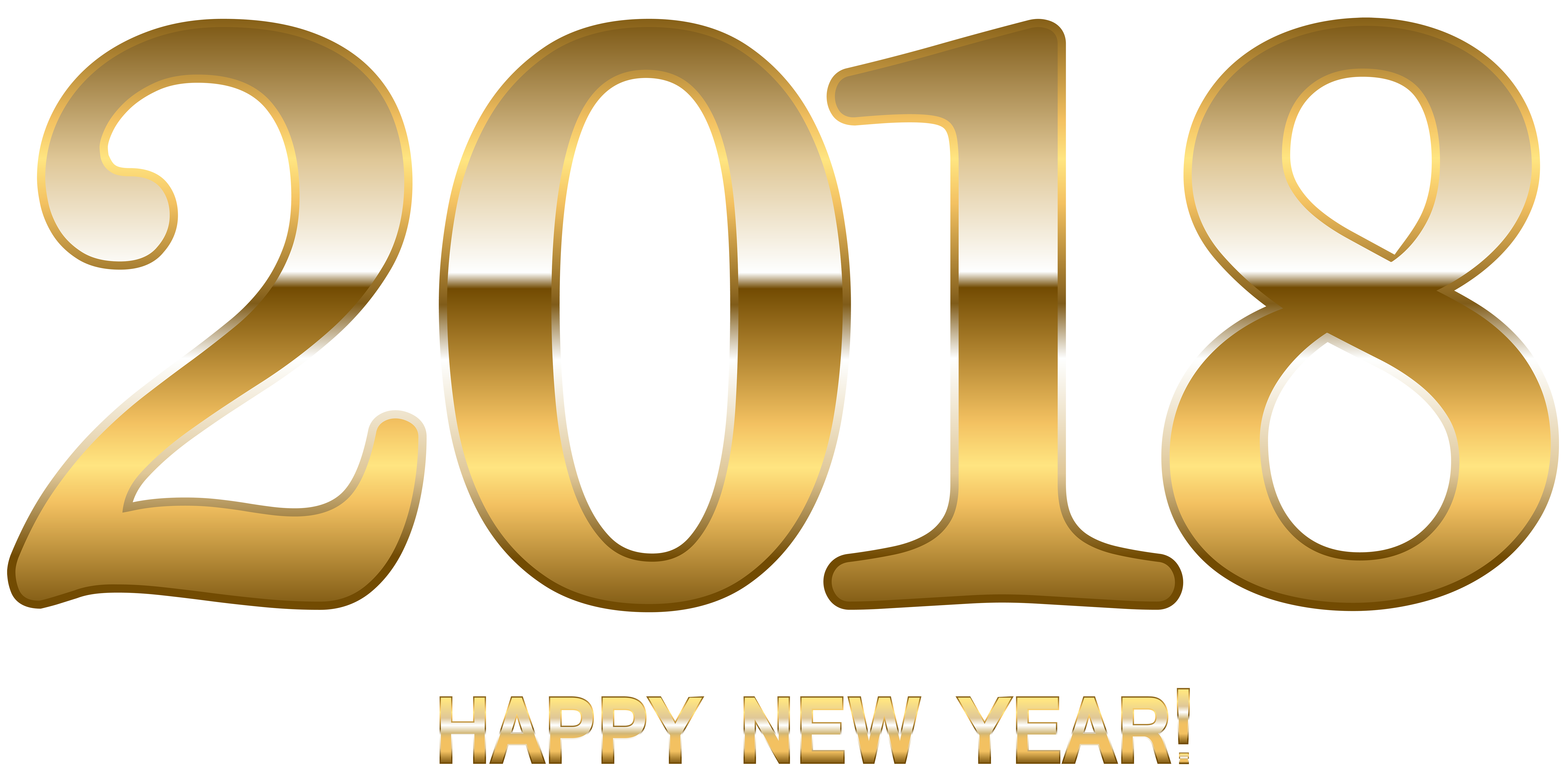 2018 Gold Happy New Year PNG Clip Art.