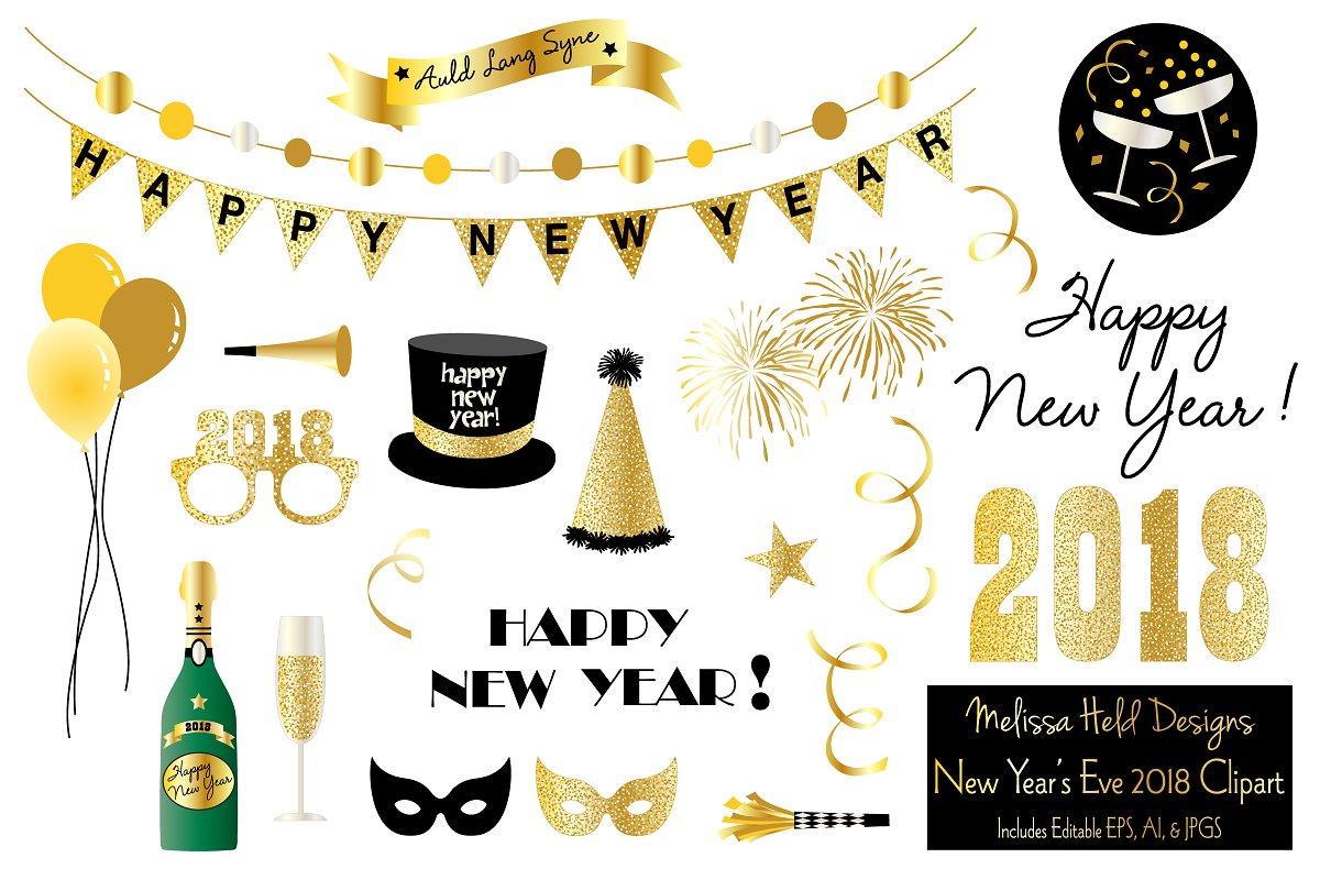 New Year\'s Eve 2018 Clipart.