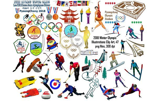Winter Olympics 2018 Clip Art by FrankiesDaughtersDesign on.