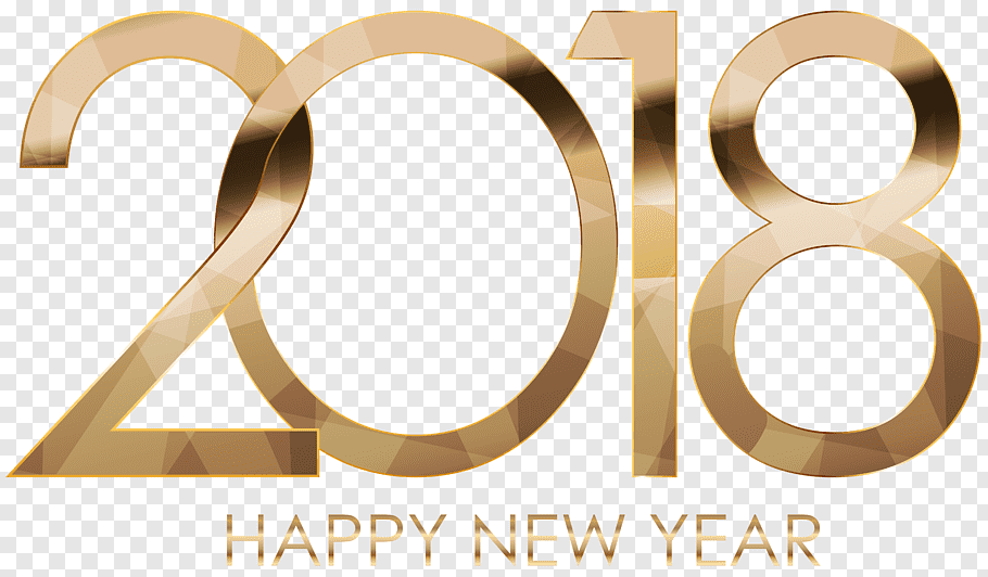 Happy new year 2018 text, 2018 Happy New Year Gold free png.