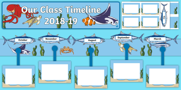 Our Class Timeline 2018 to 2019 Ocean Themed Display Pack.