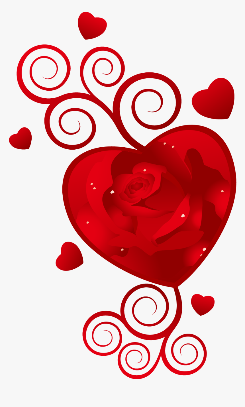 Heart February 14 Wish Valentines Vector Rose Clipart.