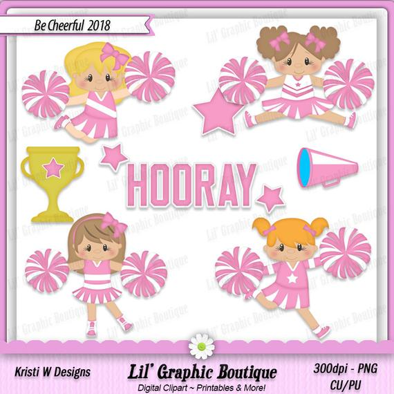 Be Cheerful 2018 Digital Clip Art Set ~ Graphics Kristi W Designs Personal  & Commercial Use Scrapbooking Clipart Printables.