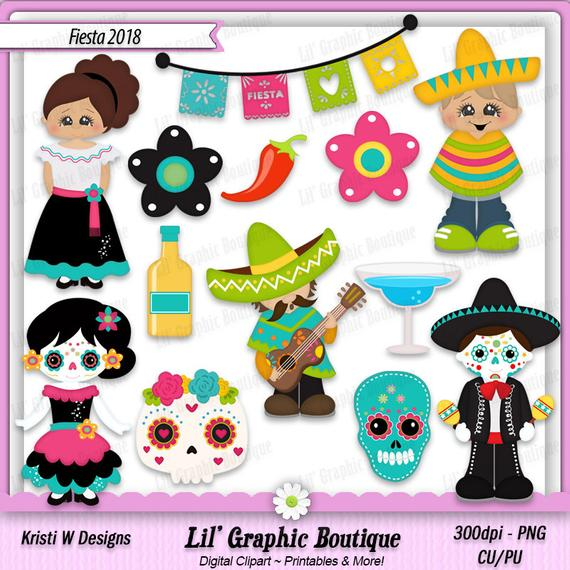 Fiesta 2018 Digital Clip Art Set ~ Graphics Kristi W Designs Personal &  Commercial Use Scrapbooking Clipart Printables Mexican Party.