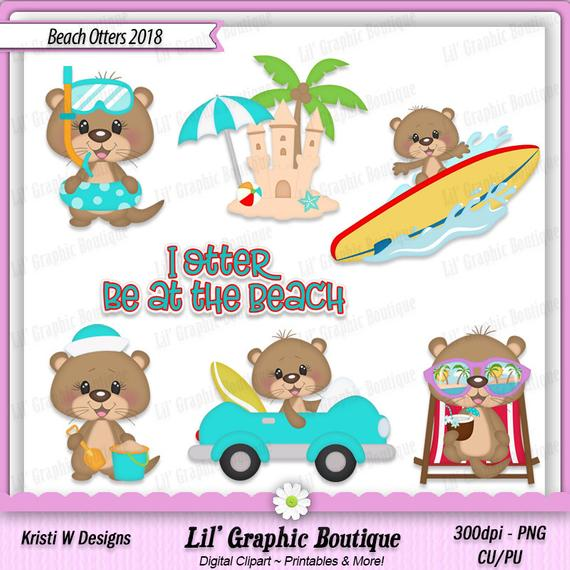 Beach Otters 2018 Digital Clip Art Set ~ Graphics Kristi W Designs Personal  & Commercial Use Scrapbooking Animal Clipart.