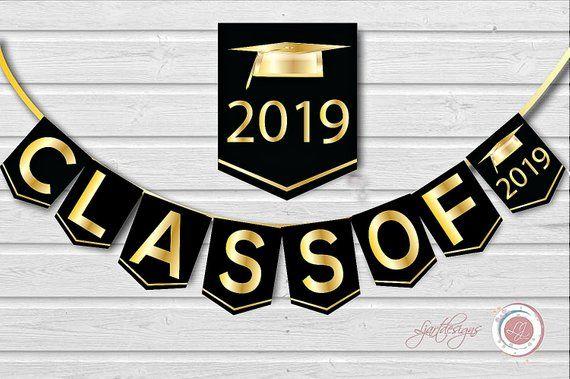Digital Black and Gold Graduation Banner, Class Of, Graduate.
